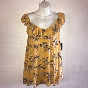 Torrid Super Soft Yellow Floral Ruffle Tank A2